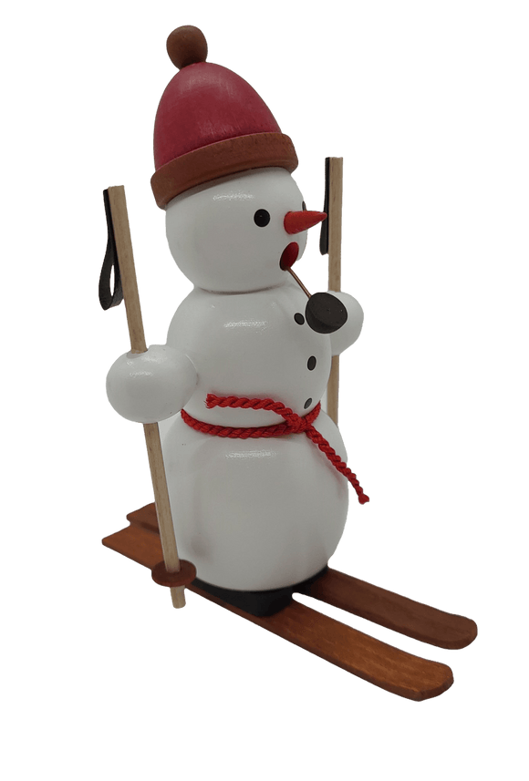 German Hand Made 5 inch Smoking Snowman on his skies - Schmidt Christmas Market Christmas Decoration
