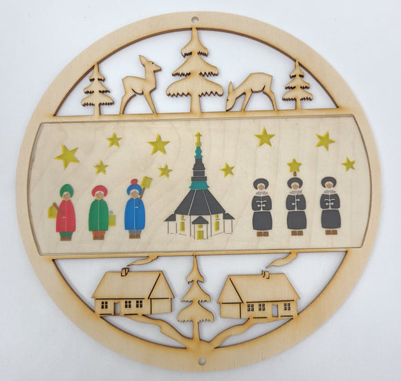 German Handmade Window pictures - church with carolers in Natural Wood - Schmidt Christmas Market Christmas Decoration