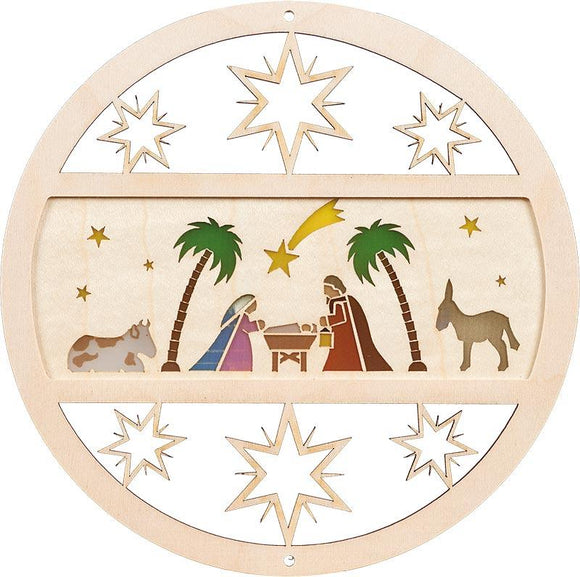 German Handmade Window pictures - Richard Glässer window picture Holy Family diameter 15 cm in Natural Wood - Schmidt Christmas Market Christmas Decoration