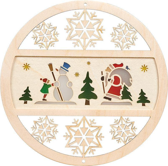 German Handmade Window pictures - winter forest in Natural Wood - Schmidt Christmas Market Christmas Decoration