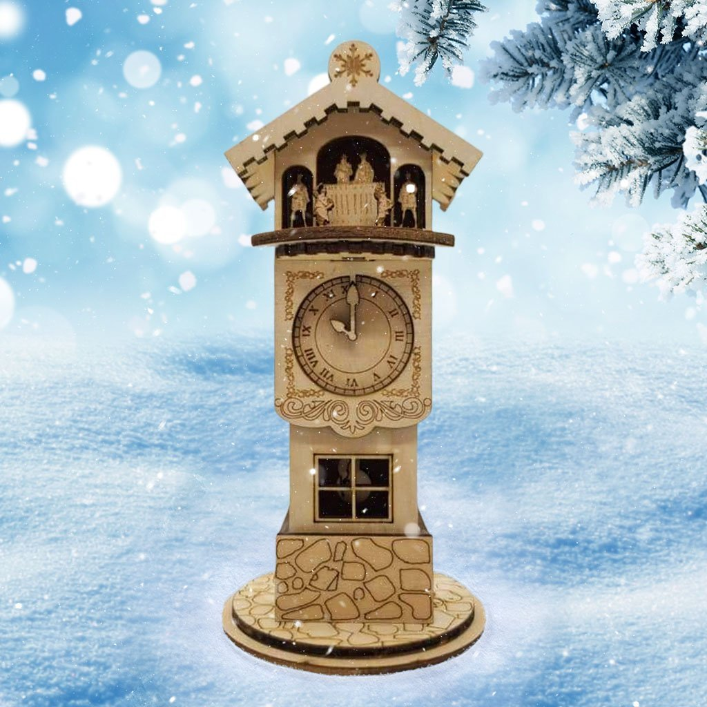Ginger Clock Tower Christmas village - Schmidt Christmas Market Dekorasyon ng Pasko