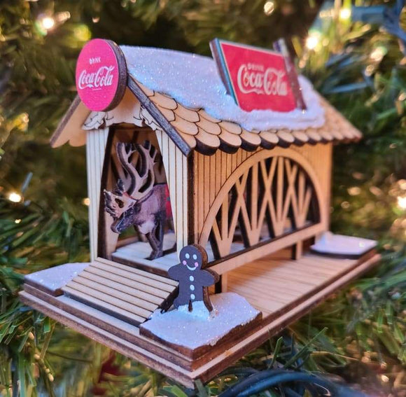 Ginger Cottage Coke a Cola Covered Bridge - Schmidt Christmas Market Christmas Decoration