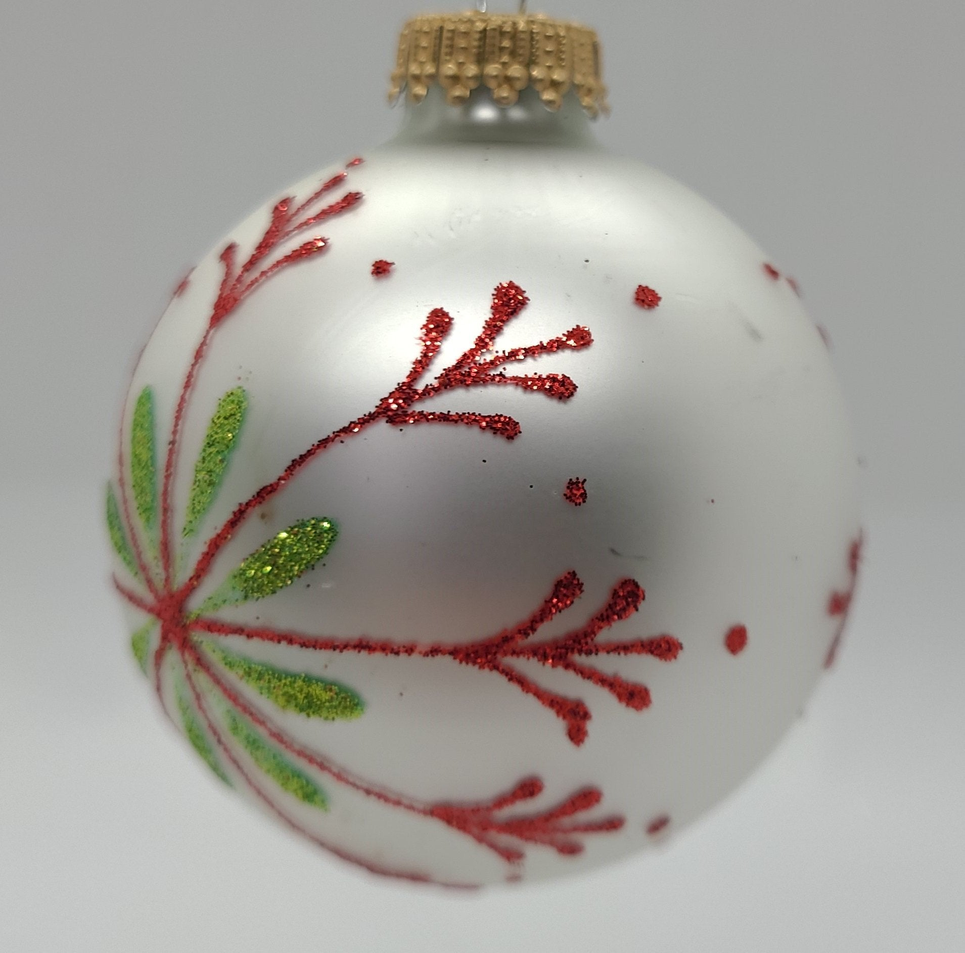 "Glass Classic 3"" Porcelain White Bauble with With Red Snowflake and Green Accents Ornament - Schmidt Christmas Market Christmas Decoration"
