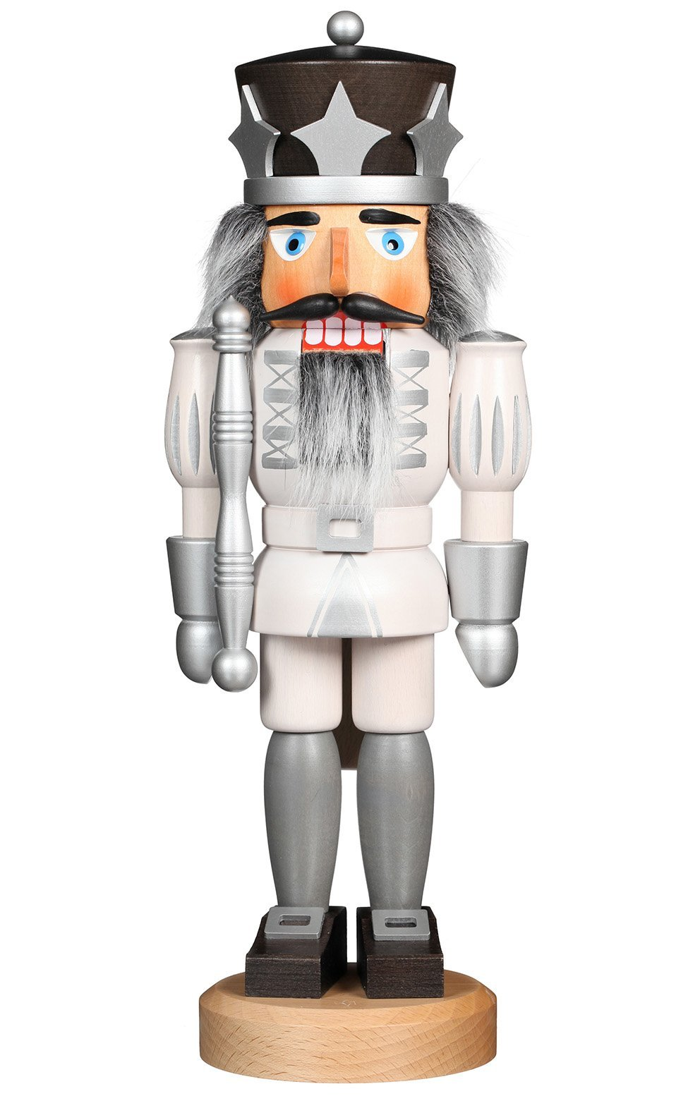 Handcrafted German 15.2 Inch Christian Ulbricht Nutcracker - White and Silver Prince - Schmidt Christmas Market Christmas Decoration