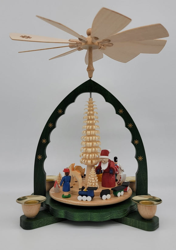 Handmade 10.6 inch Richard Glaesser Green Pyramid with Santa, kids, and Train with a Star Studded Arch - Schmidt Christmas Market Christmas Decoration