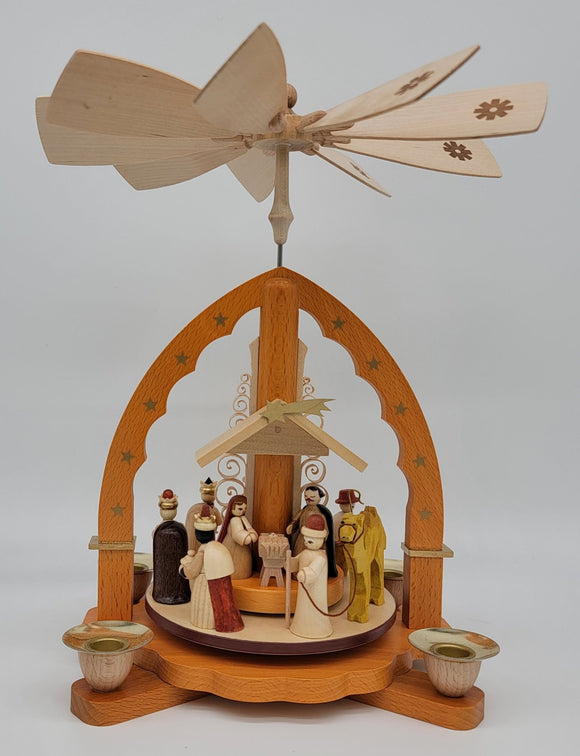 Handmade 11 inch Richard Glaesser Natural Wood Christmas pyramid with Nativity Scene - Schmidt Christmas Market Christmas Decoration