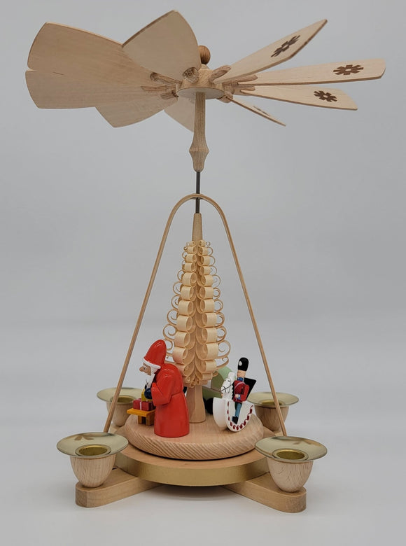 Handmade 11 inch Richard Glaesser pyramid with Santa and Kids - Schmidt Christmas Market Christmas Decoration