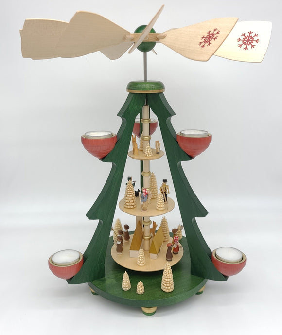 Handmade 15.5 inch Pyramids - Tree pyramid village with church and tealights - Schmidt Christmas Market Christmas Decoration