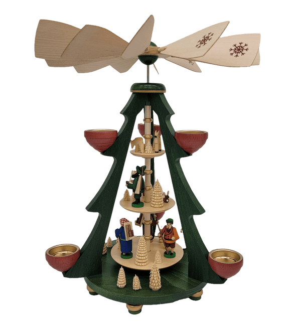 Handmade 16 inch Pyramids - Richard Glaesser tree pyramid forest people colorful 3-tier for tea lights from Seiffen in the Ore Mountains - Schmidt Christmas Market Christmas Decoration