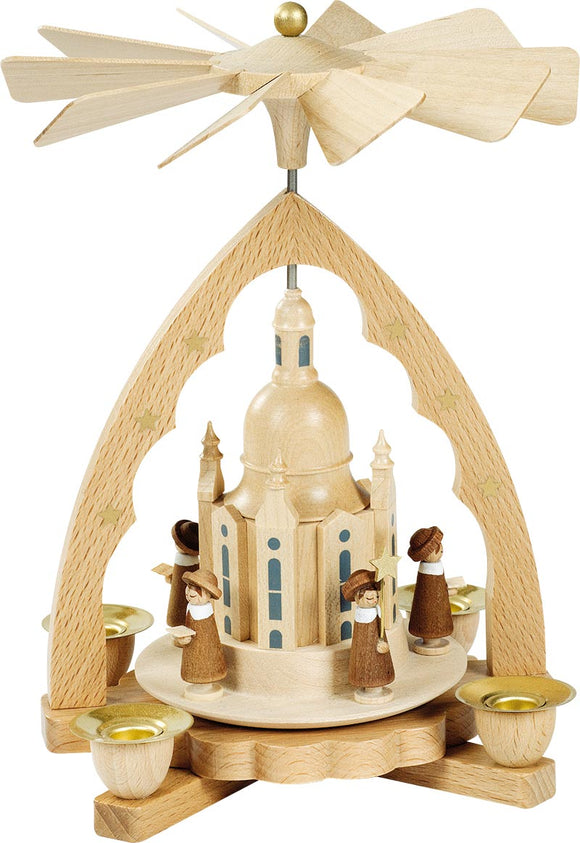 Handmade 7.5 inch Richard Glaesser pyramid Church of Our Lady in natural wood with Star Studded Arch - Schmidt Christmas Market Christmas Decoration