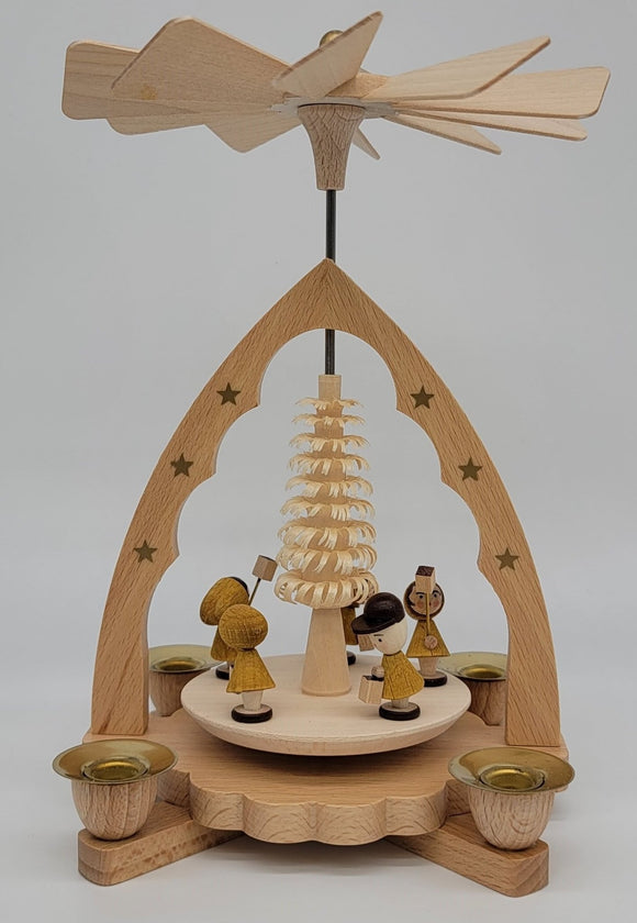 Handmade 7.5 inch Richard Glaesser pyramid with Children carrying lanterns from Seiffen in the Ore Mountains - Schmidt Christmas Market Christmas Decoration