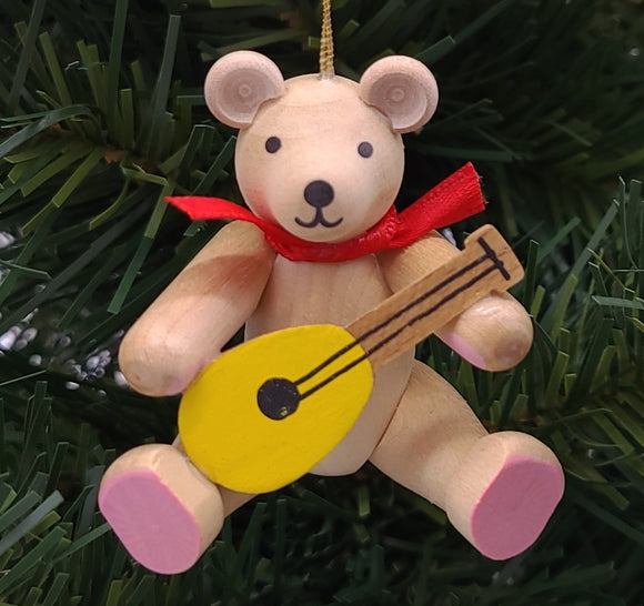 Handmade Bear with Mandolin Ornament - Schmidt Christmas Market Christmas Decoration