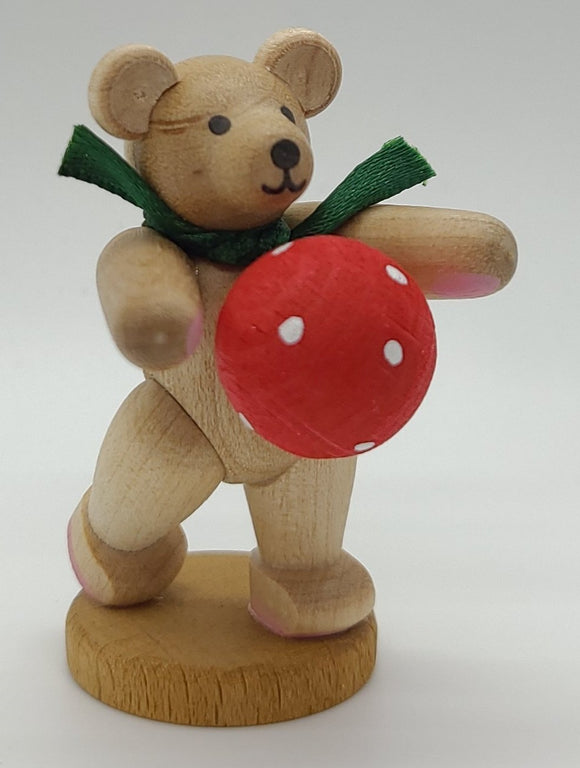 Handmade Bear with Red Ball - Schmidt Christmas Market Christmas Decoration