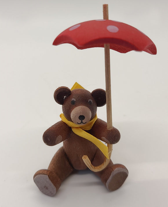 Handmade Brown Bear with Umbrella - Schmidt Christmas Market Christmas Decoration