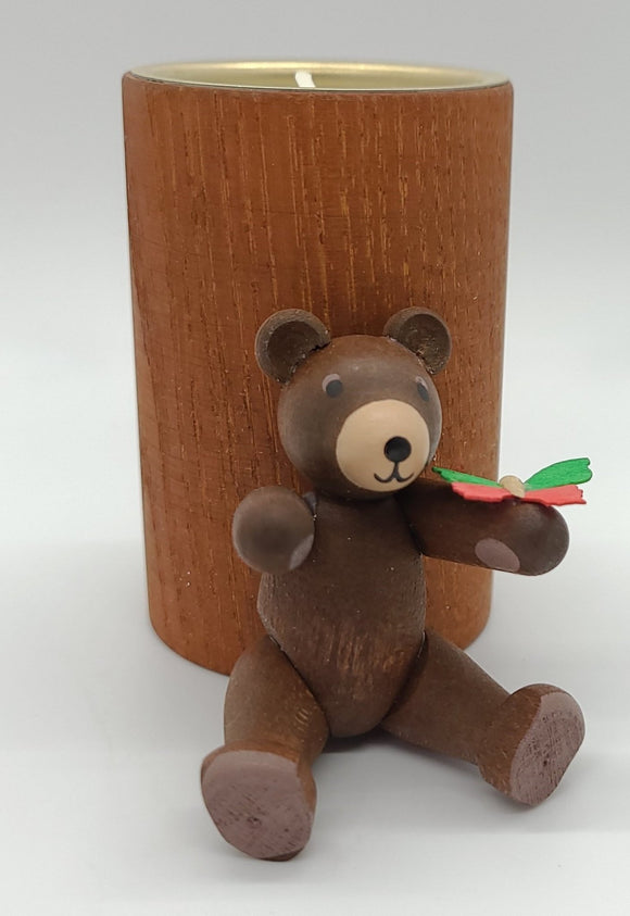 Handmade Candle holder for tealights with Natural Bear with candle - Schmidt Christmas Market Christmas Decoration