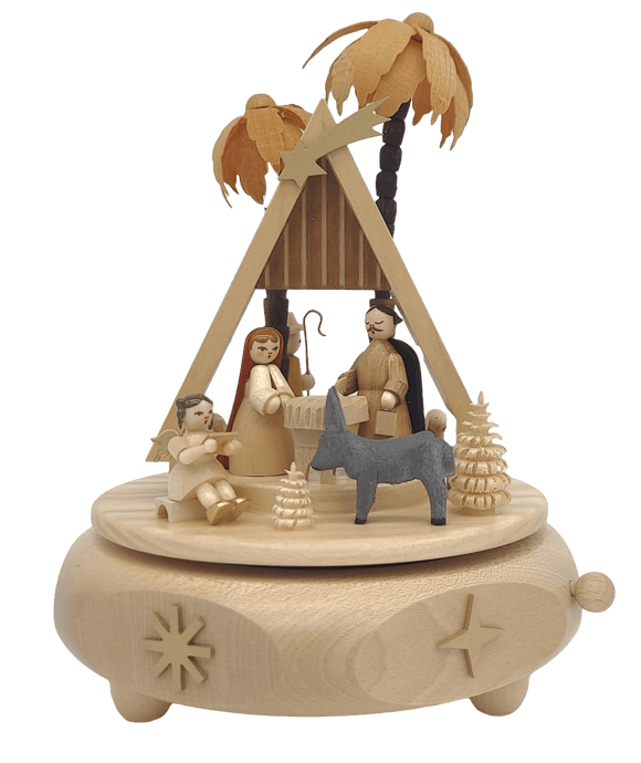 Handmade German 6.2 inch Musical Nativity with Movement - Silent Night - Schmidt Christmas Market Christmas Decoration