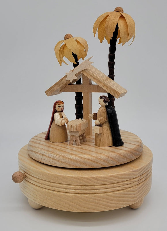 Handmade German 7 inch Musical Nativity with Movement - Silent Night - Schmidt Christmas Market Christmas Decoration