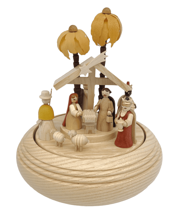 Handmade German 8 inch Musical Nativity with Movement - Silent Night - Schmidt Christmas Market Christmas Decoration