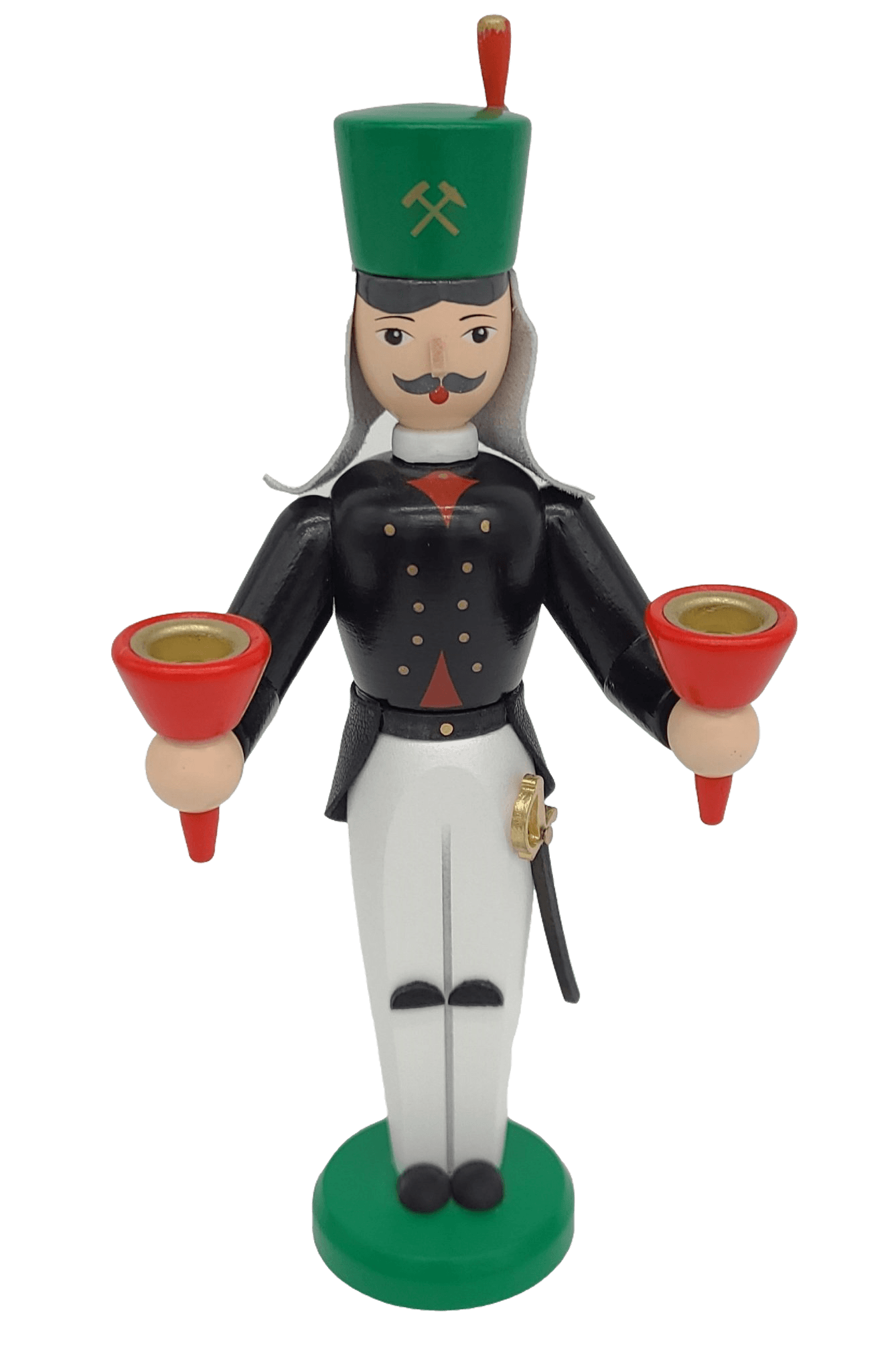 Handmade German Miner 6.3 inch dual candle holder - Schmidt Christmas Market Christmas Decoration