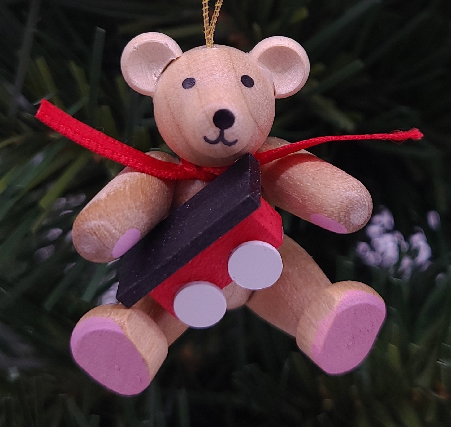 Handmade Hanging Bear with railroad car in natural wood ornament - Schmidt Christmas Market Christmas Decoration