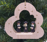 Handmade hanging natural cloud with carolers ornament - Schmidt Christmas Market Christmas Decoration