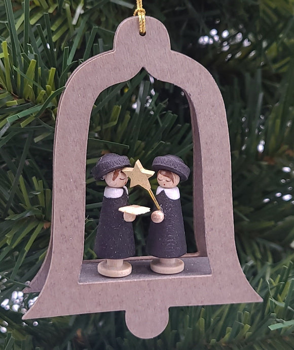 Handmade Hanging Natural Wood Bell with Carolers in black and white - Schmidt Christmas Market Christmas Decoration