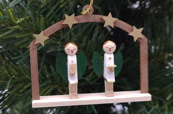 Handmade Hanging Natural Wood Window Angels - Schmidt Christmas Market Christmas Decoration
