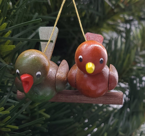 Handmade Hanging Pair of Birds Ornament - Schmidt Christmas Market Christmas Decoration