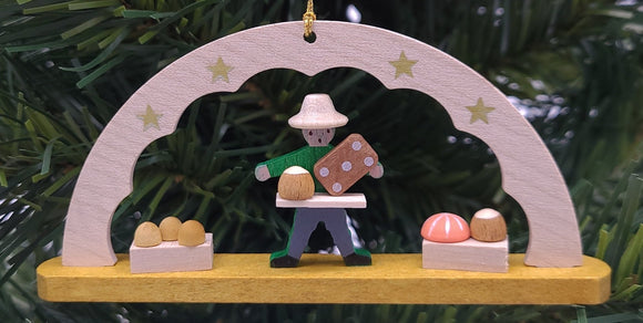 Handmade Hanging Schwibbogen gingerbread seller Ornament - Schmidt Christmas Market Christmas Decoration