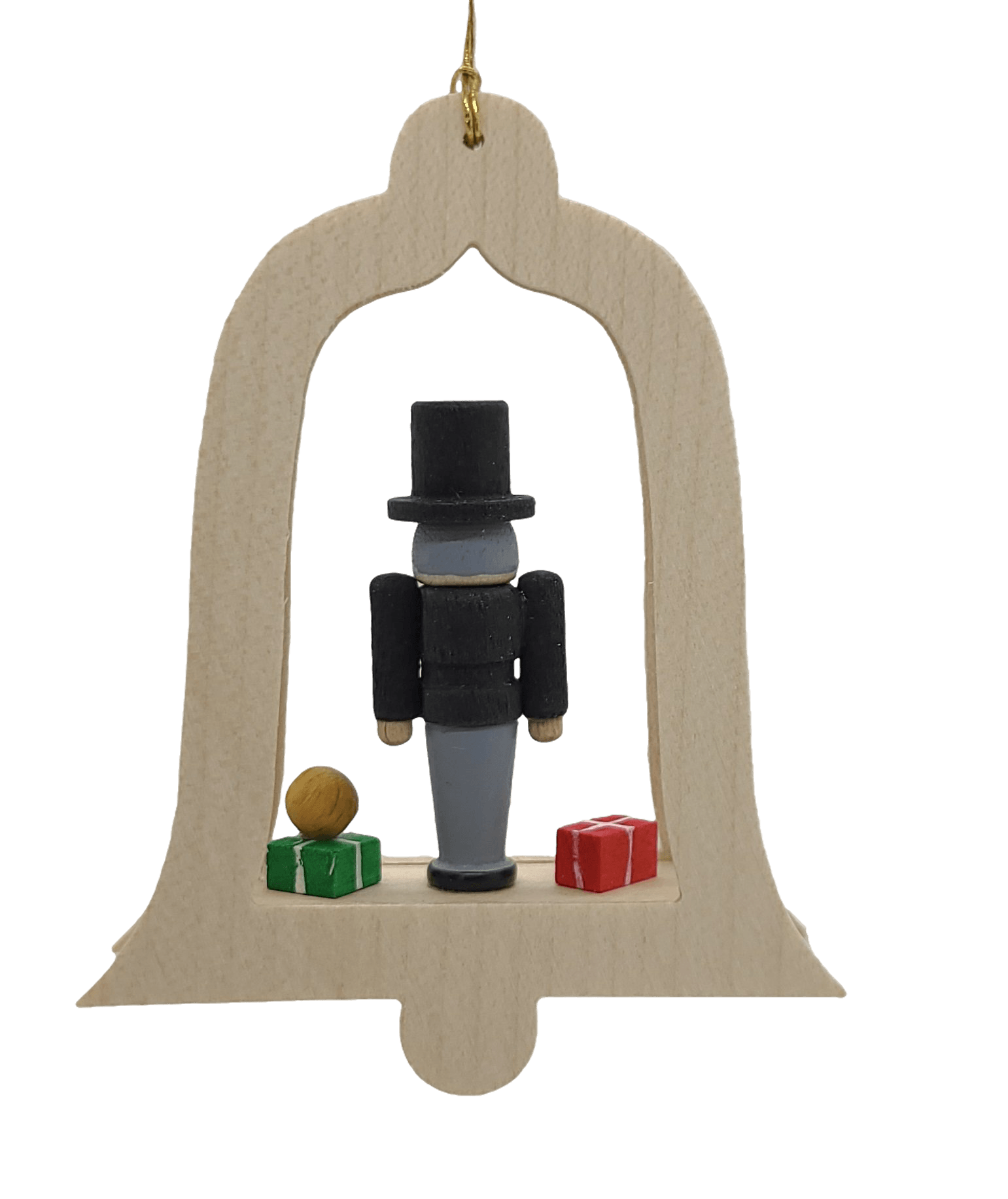 Handmade hanging wood Bell Nutcracker Drosselmeyer Ornament - Schmidt Christmas Market Christmas Decoration