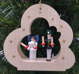 Handmade hanging wood cloud with Angel and Miner - Schmidt Christmas Market Christmas Decoration