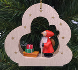 Handmade hanging wood cloud with Santa with Sleigh - Schmidt Christmas Market Christmas Decoration