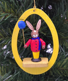 Handmade hanging wood Egg with Rabbit and Balloon - Schmidt Christmas Market Christmas Decoration
