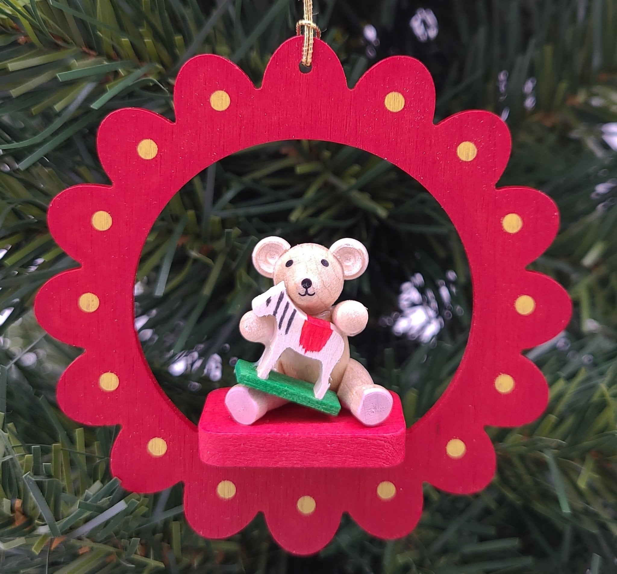 Handmade hanging wood Flower Bear with Horse ornament - Schmidt Christmas Market Christmas Decoration