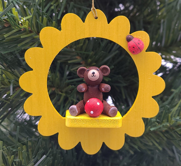 Handmade hanging Yellow Flower with Brown Bear Ornament - Schmidt Christmas Market Christmas Decoration