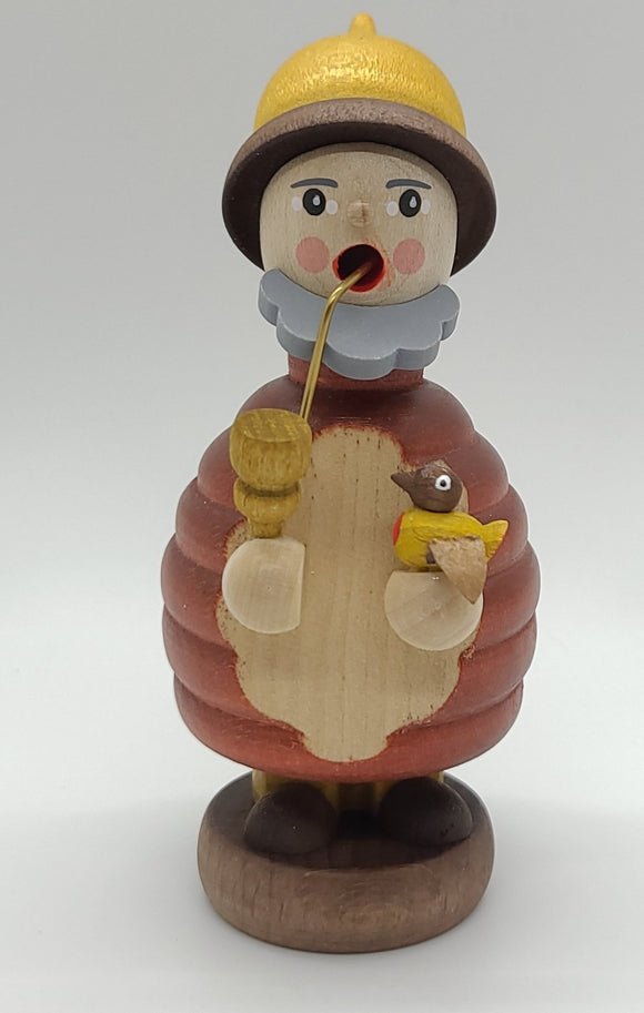 Handmade Mini-Smoker Dwarf with yellow Bird - Schmidt Christmas Market Christmas Decoration