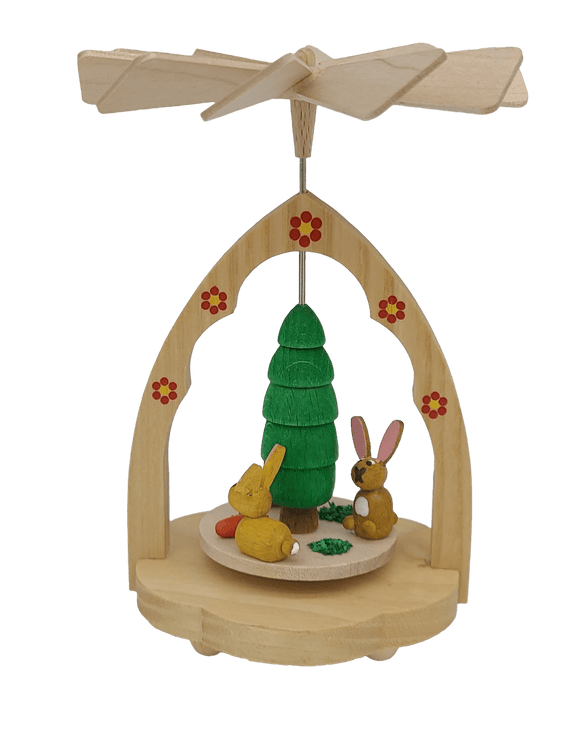 Handmade Miniature-Pyramid Richard Glaesser warming game natural rabbits from Seiffen in the Ore Mountains - Schmidt Christmas Market Christmas Decoration