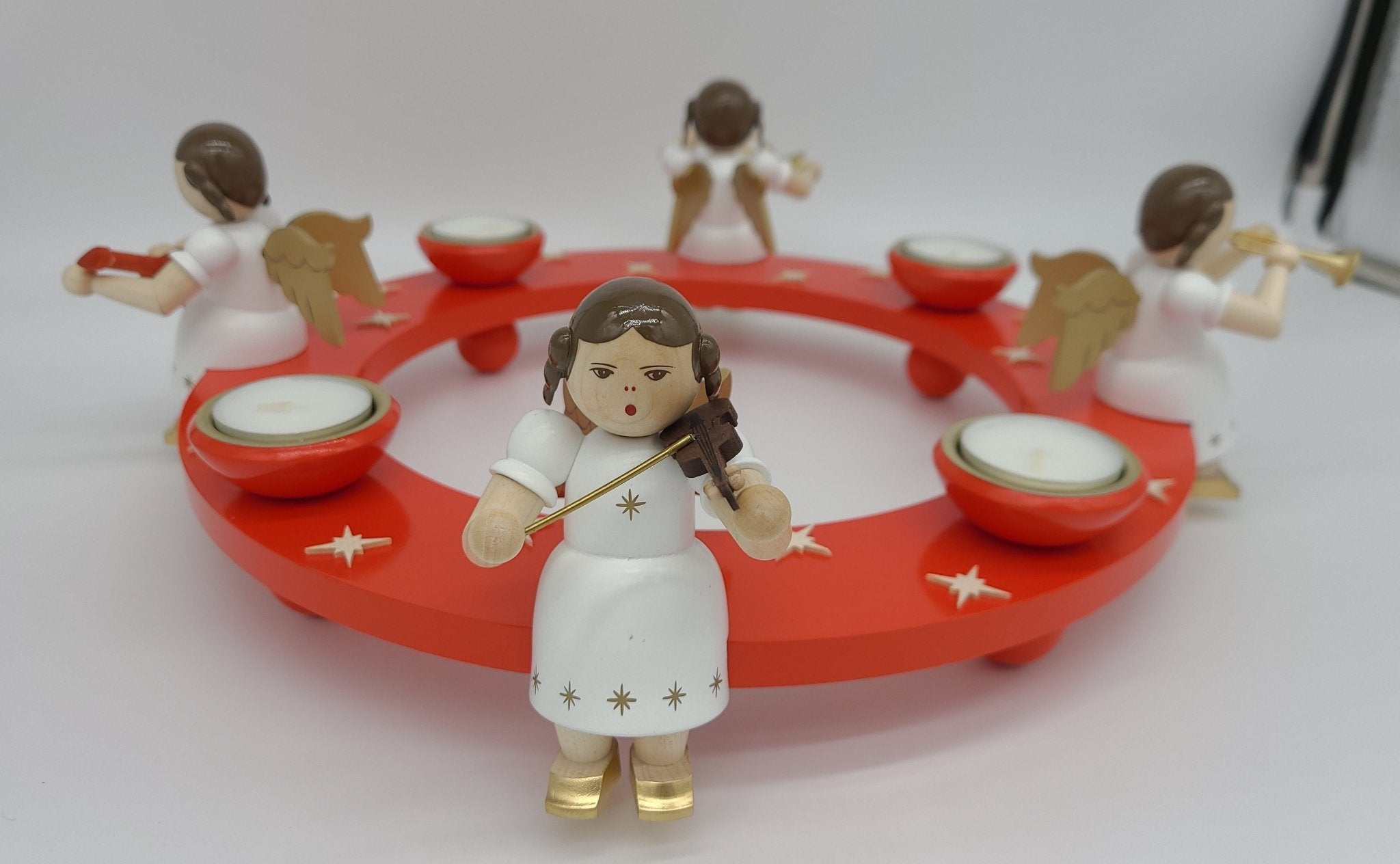 Handmade Round Wood Red Candle holder for tealights with 4 angels - Schmidt Christmas Market Christmas Decoration