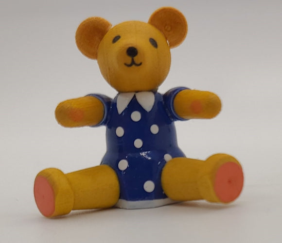 Handmade Sitting Bear in Blue Dress - Schmidt Christmas Market Christmas Decoration