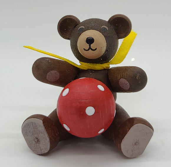 Handmade Sitting Brown Bear with Red Ball - Schmidt Christmas Market Christmas Decoration