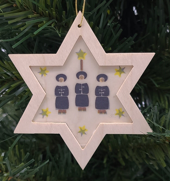 Handmade Star with Carolers wood hanging ornament - Schmidt Christmas Market Christmas Decoration