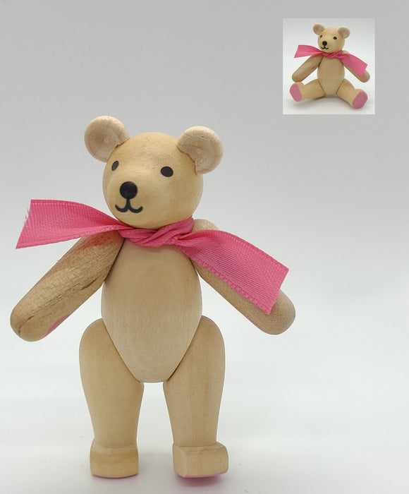 Handmade wood Bear with movable joints with pink scarf - Schmidt Christmas Market Christmas Decoration