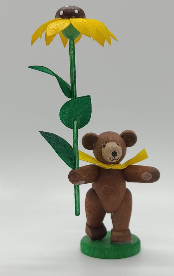 Handmade Wood Bear with Sunflower Ornament - Schmidt Christmas Market Christmas Decoration