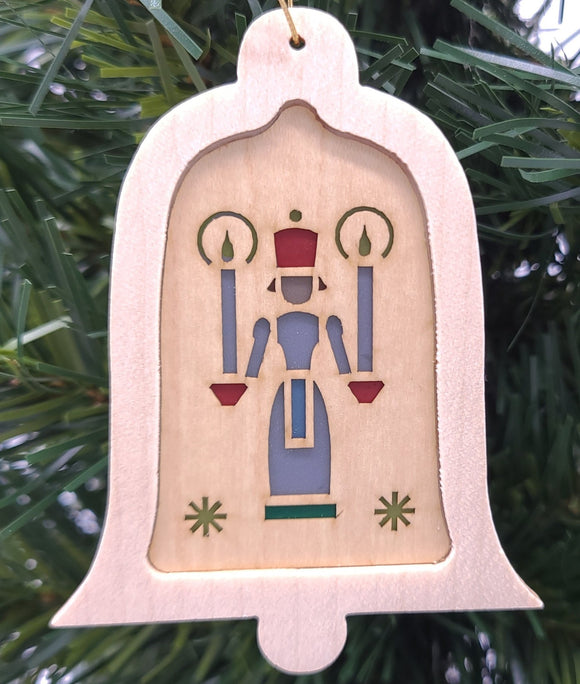 Handmade Wood Bell with Angel hanging ornament - Schmidt Christmas Market Christmas Decoration