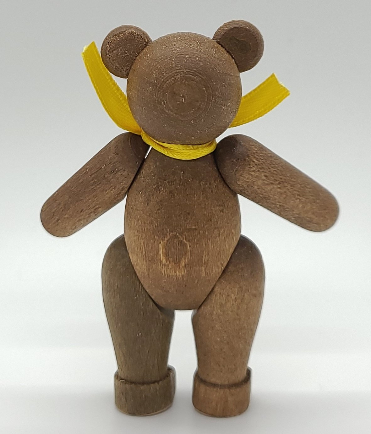 Handmade Wood Brown Bear with movable joints with yellow scarf - Schmidt Christmas Market Christmas Decoration