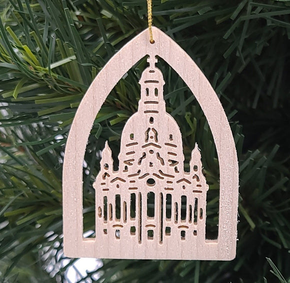 Handmade Wood Frauenkirche hanging ornament - Schmidt Christmas Market Christmas Decoration