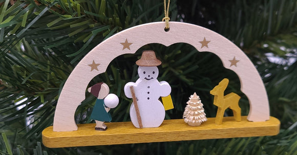 Handmade Wood Hanging Arch Snowman and Friends Ornament - Schmidt Christmas Market Christmas Decoration