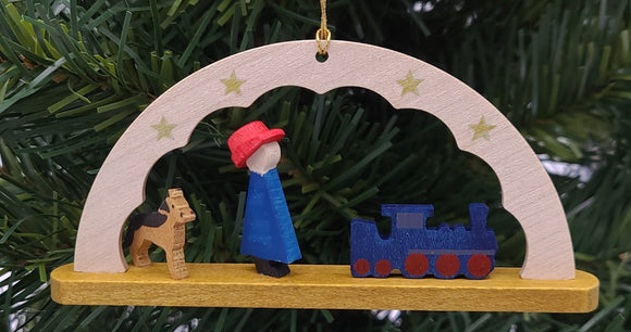 Handmade Wood Hanging Arch Train ornament - Schmidt Christmas Market Christmas Decoration