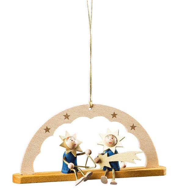 Handmade Wood Hanging Schwibbogen stars and triangle ornament - Schmidt Christmas Market Christmas Decoration
