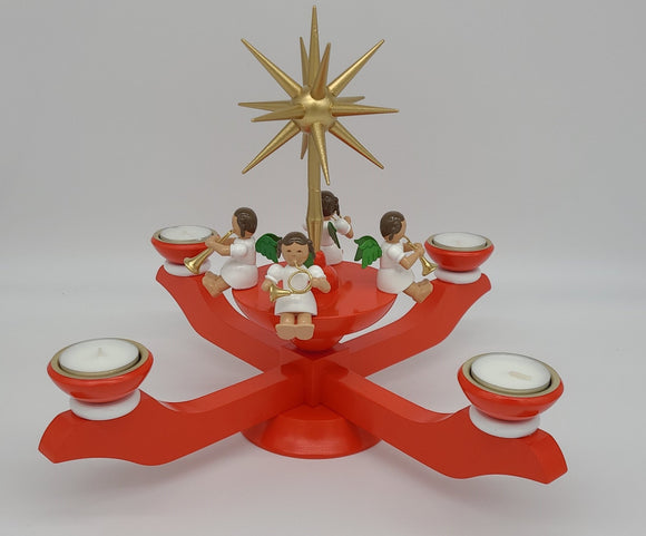 Handmade Wood Red Candle holder for tealights with 4 angels and Gold Star - Schmidt Christmas Market Christmas Decoration